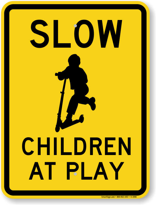 Slow, Children at Play Aluminum Sign