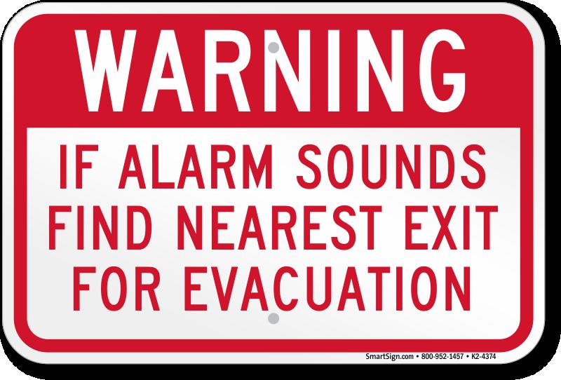 Warning Alarm Sounds Exit For Evacuation Sign, SKU: K2-4374