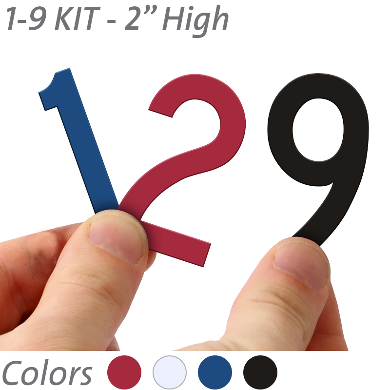 2 inch die cut magnetic number kit in 4 color options for White magnetic letters and numbers