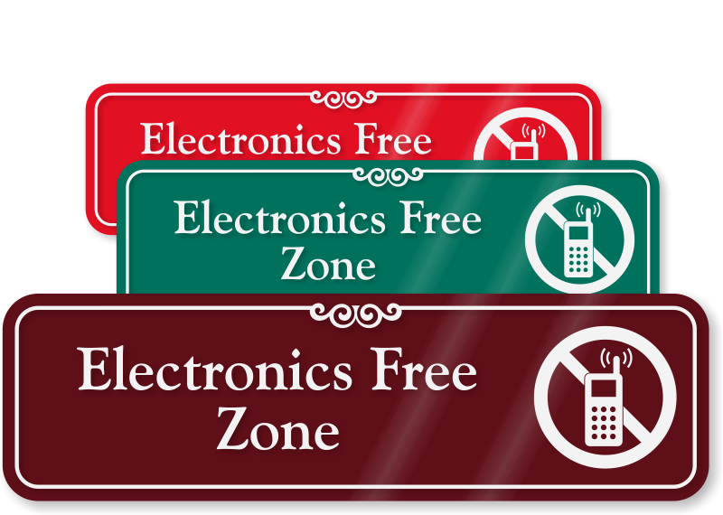 electronics free zone sign designer no cell phone sign sku se 5141. Black Bedroom Furniture Sets. Home Design Ideas