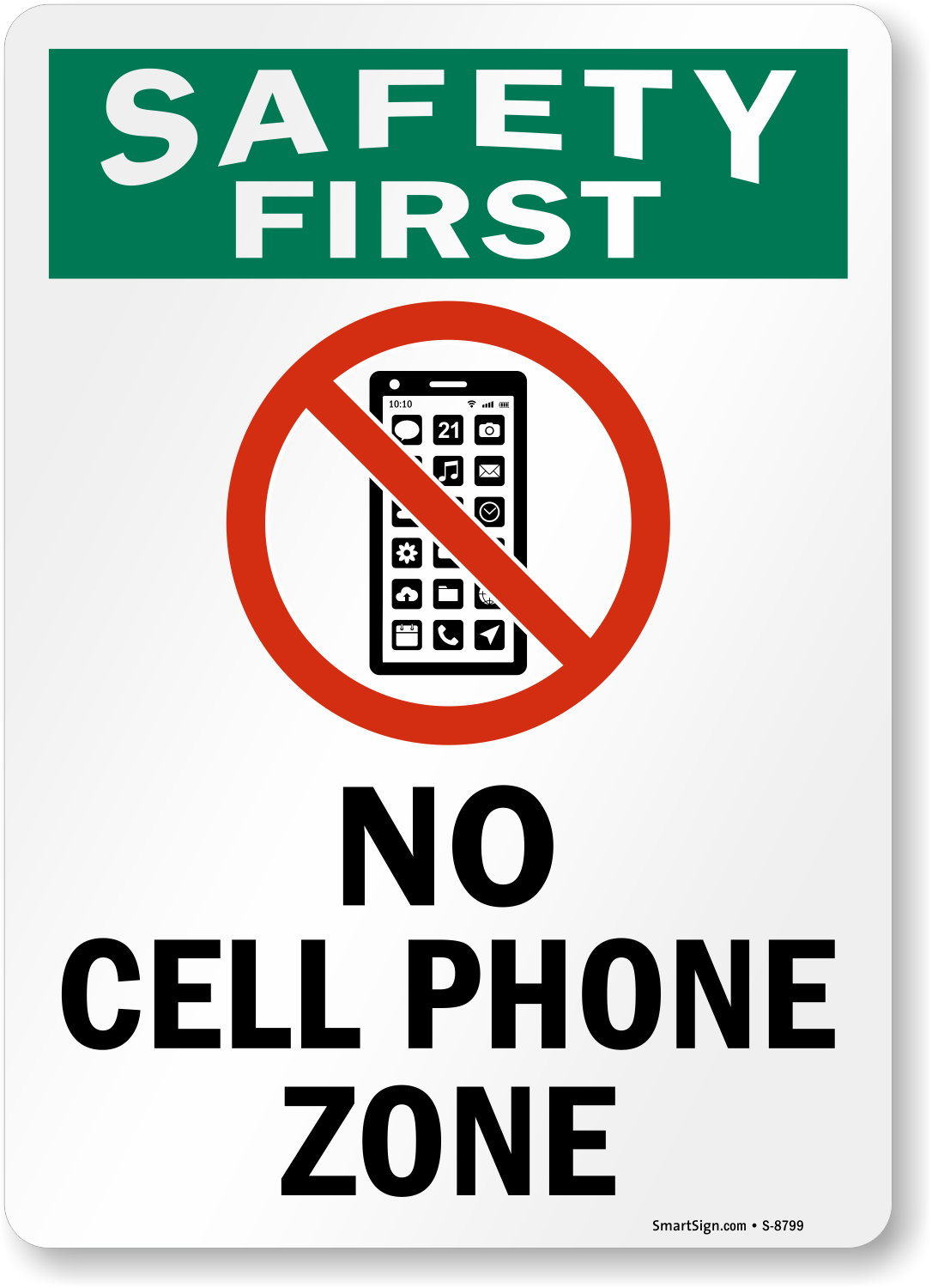 No cell phone zone sign safety first signs sku s 8799 for Plaque ondulee polycarbonate transparent