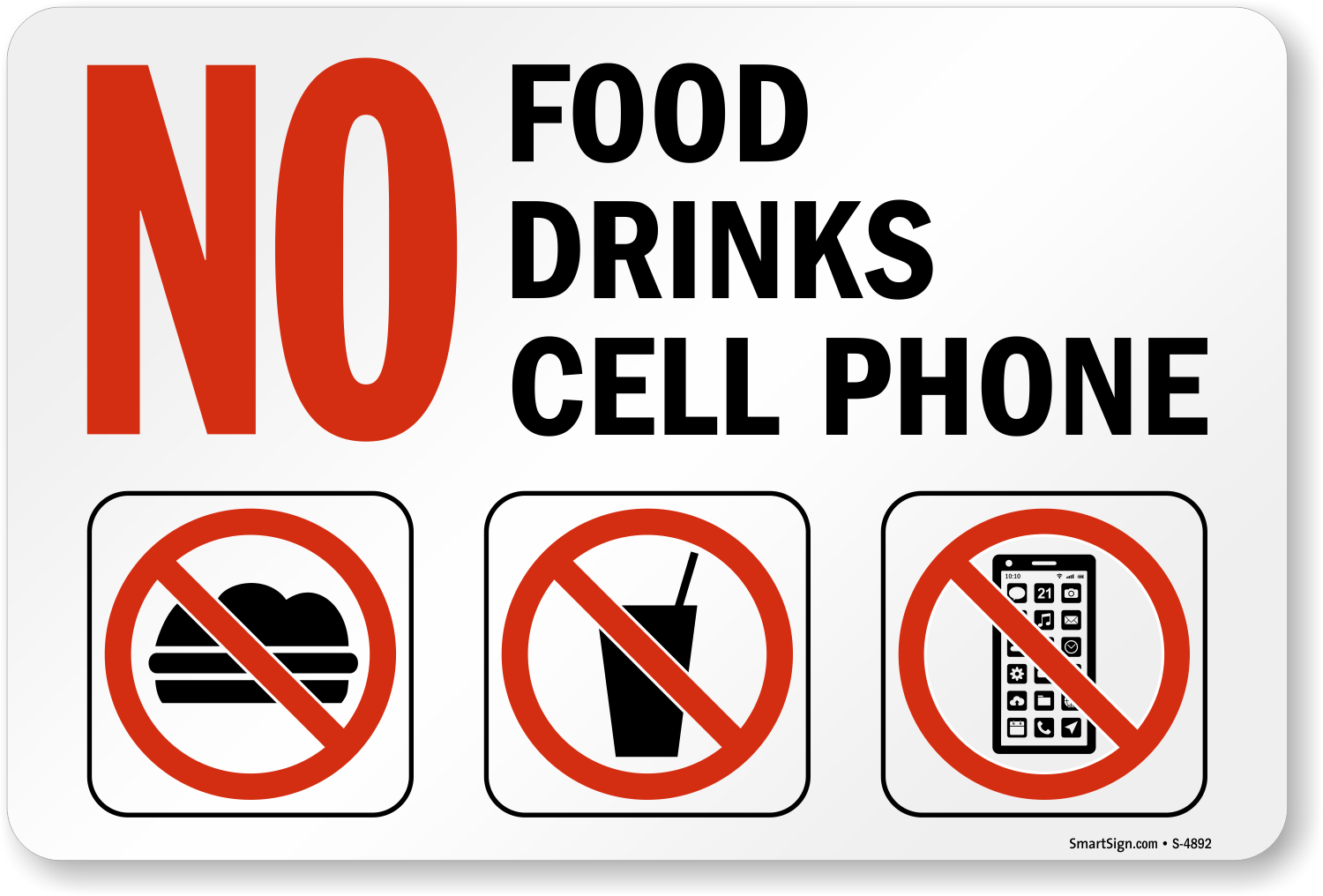 No Food Drinks Cell Phone Signs, No Cell Phone Signs, SKU