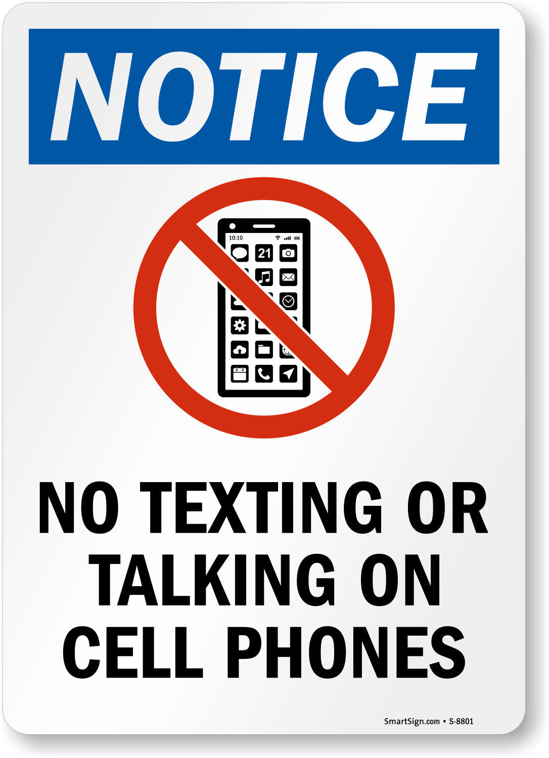 No Texting Or Talking On Cell Phones Sign Sku S 8801