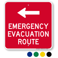 Emergency Evacuation Route Left Arrow Signs Sku K2 4340 L