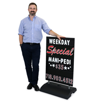 Changeable Black Message Board Sidewalk Sign Holder