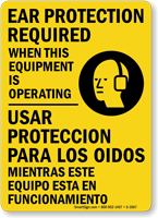 Ear Protection Required (graphic) (Bilingual) Sign