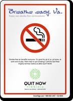 Breathe Easy, Enjoy Our Smoke-Free Environment Virginia Sign