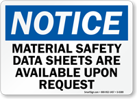 Notice Material Safety Data Available Sign