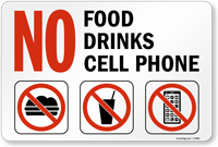 No Food Drinks Cell Phone Signs No Cell Phone Signs Sku