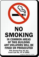 No Smoking, NYC Smoke-Free Air Act Law Sign