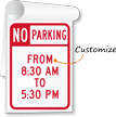Customizable No Parking Timing Sign Book