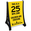 25 Mph Zone Children Crossing Sidewalk Sign