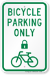 Bicycle Parking Only Sign with Lock Symbol