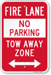 Bidirectional Fire Lane, Tow-Away Zone Sign