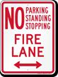 Bidirectional No Parking, Fire Lane Sign