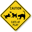 Caution Cats At Plays Sign