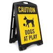 Caution Dogs At Play Sidewalk Sign