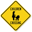 Children Crossing Sign with Baby Stroller Graphic
