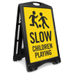 Children Playing Portable Sidewalk Sign