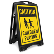 Caution Children Playing Portable Sidewalk Sign Kit