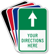 Customizable Parking Lot Directions Sign, Ahead Arrow