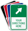 Custom Parking Lot Directions Sign, Ahead Right Arrow