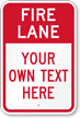 Customizable Fire Lane Warning Message Sign