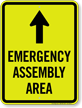 Emergency Assembly Area Ahead Arrow Sign