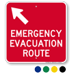 Emergency Evacuation Route Upper Left Arrow Sign