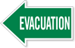 Evacuation, Left Die-Cut Directional Sign