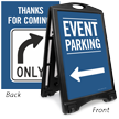 Event Parking To Left Sidewalk Sign