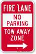 Fire Lane At Right, Tow-Away Zone Sign
