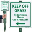 Keep Off Grass Lawnboss Sign, Left Arrow