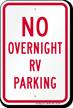 No Overnight RV Parking Sign