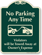 No Parking Any Time Signature Sign