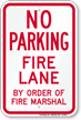 No Parking at Fire Lane Sign