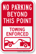 No Parking Beyond This, Towing Enforced Sign