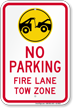No Parking, Fire Lane, Tow Zone Sign