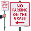 No Parking on Grass Lawnboss Sign, Left Arrow