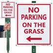 No Parking on Grass Lawnboss Sign, Left Arrow