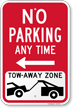 No Parking, Tow-Away Zone Left Arrow Sign