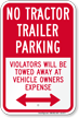 No Tractor Trailer Parking, Bidirectional Sign