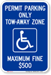 Permit Parking Only Tow Zone Sign