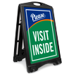 Please Visit Inside Portable A-Frame Sign Kit