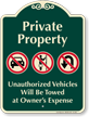 Private Property, Vehicles Towed Signature Sign