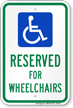 Reserved For Wheelchairs Parking Sign