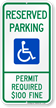 Reserved Parking Permit Required Fine Sign