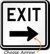 Exit (right arrow) Aluminum Parking Sign