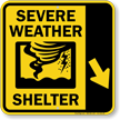 Severe Weather Shelter Down Right Arrow Sign