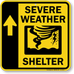 Severe Weather Shelter Up Arrow Sign